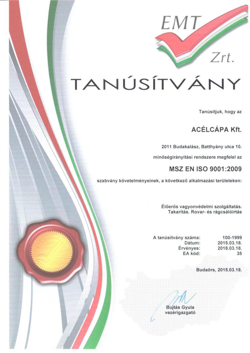 ISO tanúsítvány